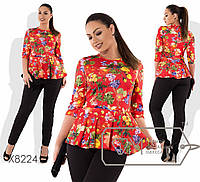 Женский костюм в больших размера с принтованной цветочной кофтой баской fmx8224, фото 1