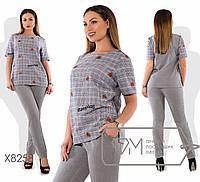 Женский брючный костюм в больших размерах с прямой футболкой fmx8258, фото 1