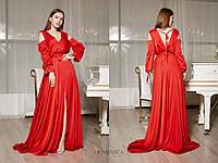 Шелковое длинное платье с вырезом на спине и открытыми плечами 31mpl1229, фото 1