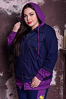 Женская джинсовая куртка в больших размерах с капюшоном 10mbr709, фото 1