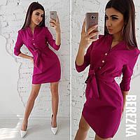 Платье-рубашка из костюмки с поясом 66mpl1420, фото 1