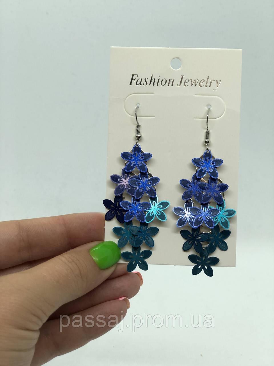 Квітчасті блакитні сережки з градієнтом