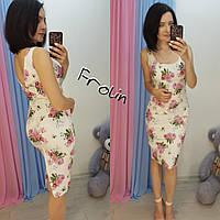 Джинсовое принтованное платье миди 57mpl1610, фото 1