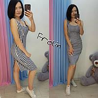Хлопковое платье-майка в полоску до колен 57mpl1611, фото 1