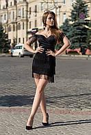 Платье из шелка с бахромой и открытыми плечами 20mpl1808 880, фото 1