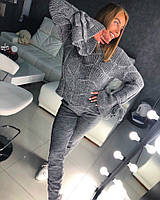 Женский костюм крупной вязки с широкими рукавами 18mko744, фото 1