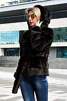 Женская шуба короткая с капюшоном и искусственным мехом под норку (цвет махагон) 39msh2