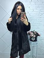 Женская шуба из искусственной норки с капюшоном 100 см длиной (Размеры 42-56) h-39msh80, фото 1