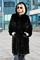 Женская черная шуба под норку полосками метровая 39msh209, фото 1