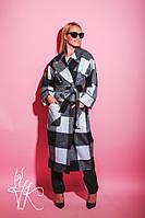 Клетчатое черно-белое женское Женские пальто на запах 60mpa104, фото 1