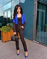 Женский классический брючный костюм с двухцветным жакетом 9mko796, фото 1