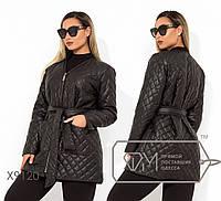Демисезонная стеганная женская куртка большого размера под пояс FMX9120
