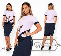 Юбочный женский костюм большого размера с блузой с аппликацией FMX9153, фото 1