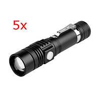 5штXANESWT518XML-T61000люменов 3 режима переносного масштабируемого LED фонарик - 1TopShop