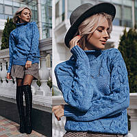 Вязаный теплый женский свитер с горловиной 14mds479, фото 1