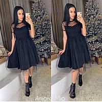 Черное платье с пышной юбкой и сеткой 73mpl2112, фото 1