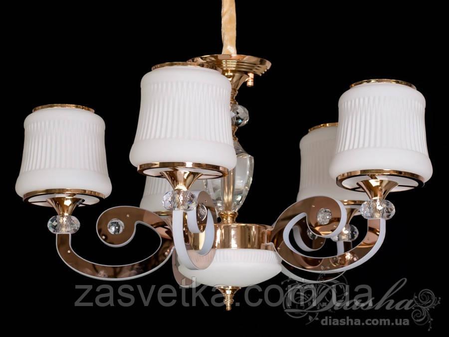 Классическая люстра со светящимися рожками 42W 8368/5 (хром,золото)
