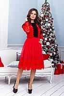 Платье с сеткой и гипюром в больших размерах 38mbr1212, фото 1