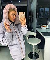 Женская зимняя куртка с капюшоном и довязами 18mku173, фото 1