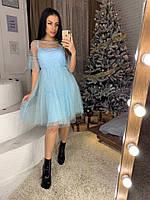 Шифоновое платье с люрексом и пышной  юбкой 41mpl2228, фото 1