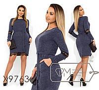 Ангоровое платье в большиfmx размераfmx с поясом и вставками кружева fmx9763, фото 1