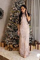 Длинное платье с вышивкой по сетке 60mpl2294, фото 1