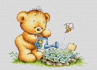"""Набор для вышивания крестом """"Мишка с лейкой"""" Luca-S"""