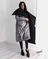 Двухсторонее зимнее Женские пальто-одеяло из плащевки 63mku180, фото 1
