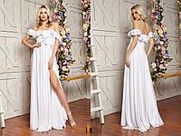 Длинное шифоновое платье с воланами и открытыми плечами 31mpl2318, фото 1