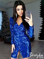 Платье в пайетку на запах с длинным рукавом 66mpl2331, фото 1