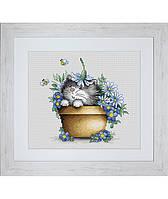 """Набор для вышивания крестом """"Котенок в цветах"""" Luca-S"""