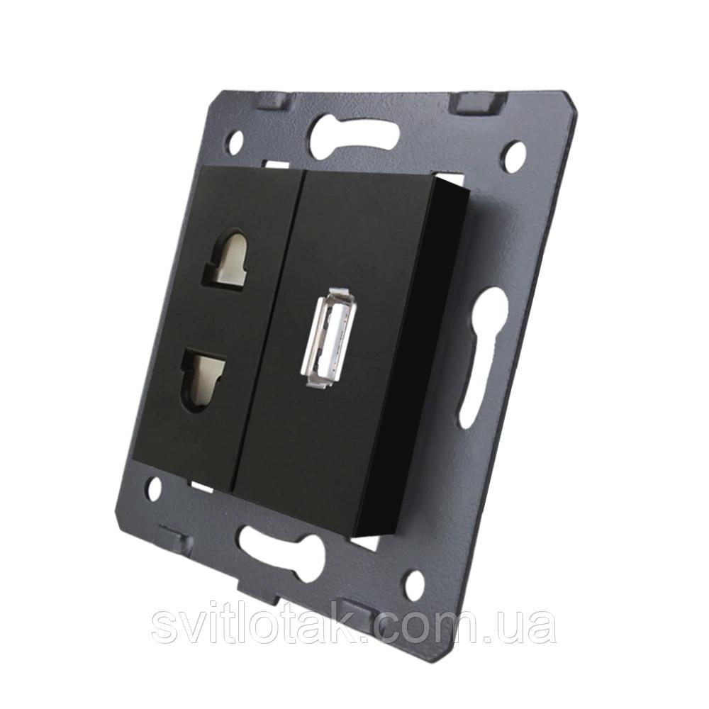 Механизм силовая универсальная розетка и USB розетки Livolo черный (C7-C1A1USB-12)