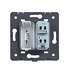 Механизм силовая универсальная розетка и USB розетки Livolo черный (C7-C1A1USB-12), фото 2