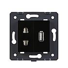 Механизм силовая универсальная розетка и USB розетки Livolo черный (C7-C1A1USB-12), фото 3