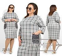 Женское платье в больших размерах в клетку с карманами 1mbr1376, фото 1