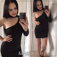Черное платье с одним рукавом и чокером 51mpl2395, фото 1