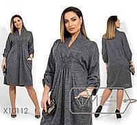 Платье с завышенной талией в больших размерах свободное 1mbr1403, фото 1