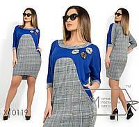 Трикотажное прямое платье в больших размерах с принтом клетка 1mbr1405, фото 1