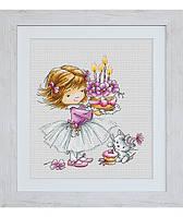 """Набор для вышивания крестом """"Девочка с котенком и тортиком"""" Luca-S"""