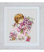 """Набор для вышивания крестом """"Девочка с букетом"""" Luca-S"""