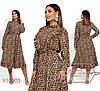 Женское платье леопардовое в больших размерах с оборками 1mbr1475