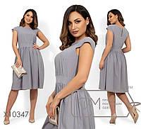 Принтованное летнее платье в больших размерах с пышной юбкой 1mbr1489, фото 1