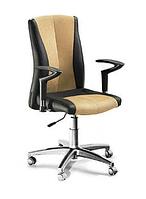 Кресло для офиса БЛЮЗ хром с подлокотниками