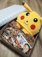 Подарочный набор Пижамы кигуруми покемон пикачу+киндер сюрприз+киндер шоколад