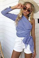 Женская полосатая рубашка с одним рукавом и широким поясом 68mru235