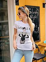 Женская хлопковая футболка с рисунком 22mfu199, фото 1