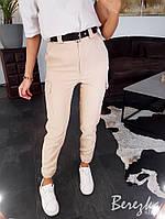 Женские брюки на высокой посадке с накладными карманами 66mbl352