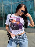 Белая женская футболка прямая с рисунком 58mfu224