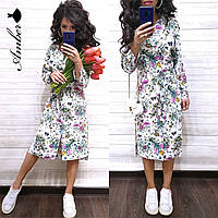 Літнє плаття - сорочка міді в квітковий принт 8mpl2788