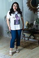 Летняя женская футболка в больших размерах с накаткой 10mbr1771